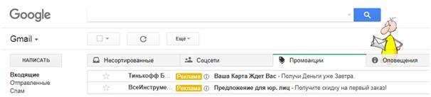 Реклама в Gmail – вкладки «Соцсети» и «Промоакции»