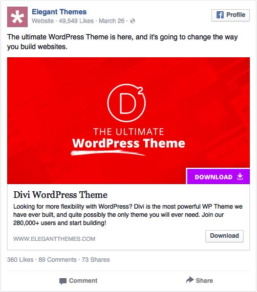 Реклама в соцсетях – красный цвет, пример Elegant Themes