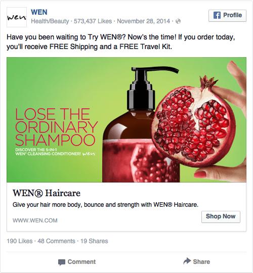 Реклама в соцсетях – красный цвет, пример Wen