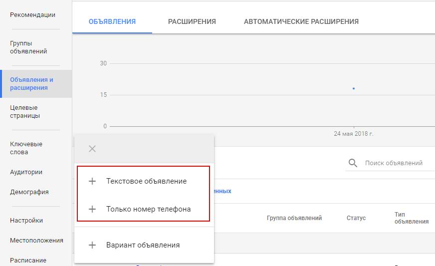 Мобильная реклама Google AdWords — создание объявления на поиске