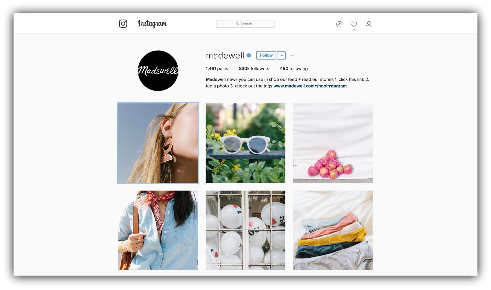 Продажи в Instagram – вовлекающий контент, пример madewell