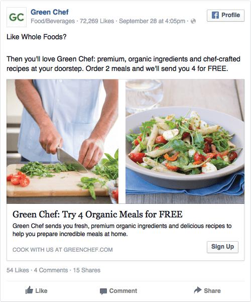 Реклама в соцсетях – зеленый цвет, пример Green Chefs