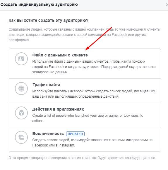 Ретаргетинг в Facebook – аудитория на основе данных о клиенте