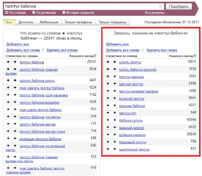 Яндекс Wordstat – похожие запросы