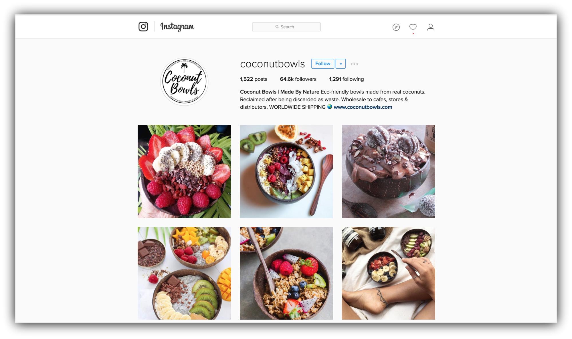 Продажи в Instagram – пример Coconut Bowls