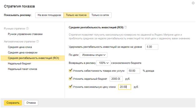 Стратегии управления ставками Яндекс.Директ – средняя рентабельность инвестиций