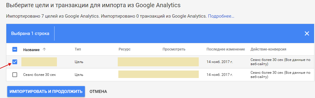 Анализ Google AdWords — выбор целей для импорта из Google Analytics