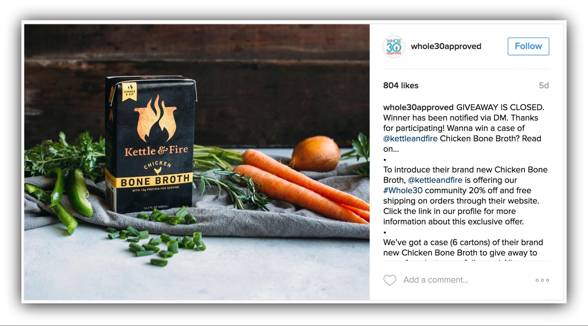 Продажи в Instagram – пример Kettle and Fire