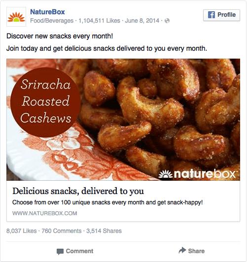 Реклама в соцсетях – коричневый цвет, пример NatureBox