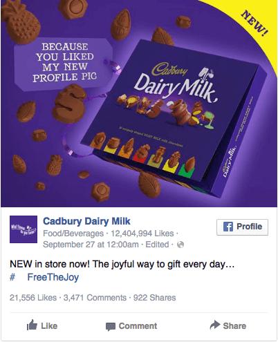 Реклама в соцсетях – сиреневый цвет, реклама шоколада