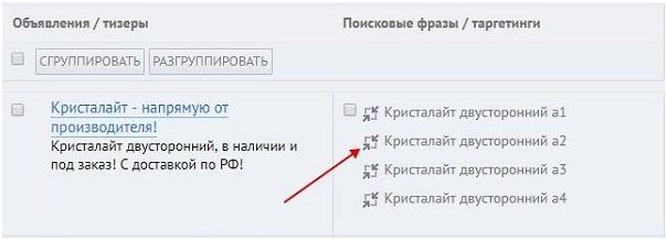 Статус «Мало показов» Яндекс.Директ – отделение фразы от группы