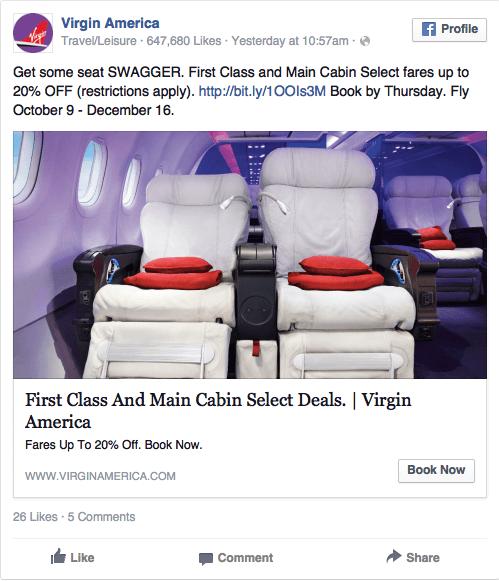 Реклама в соцсетях – сиреневый цвет, пример Virgin America