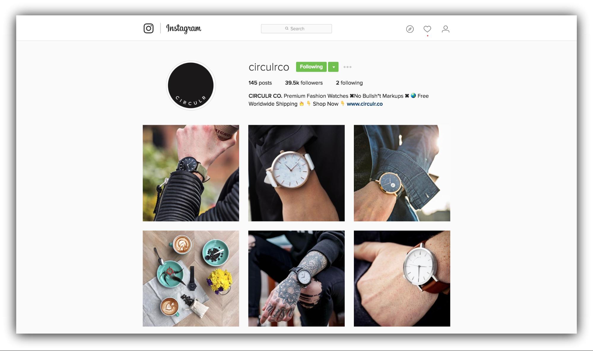 Продажи в Instagram - пример circulr
