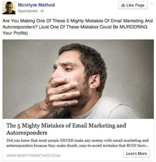 Коэффициент релевантности Facebook – тестирование слов с негативным значением