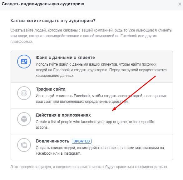 Ретаргетинг в Facebook – аудитория на основе действий в приложении