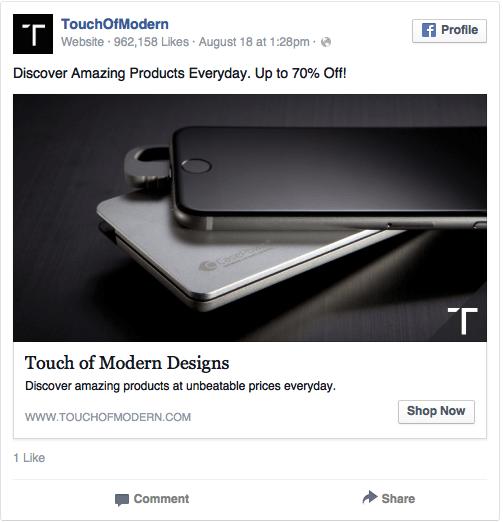 Реклама в соцсетях – черный цвет, пример TouchOfModern