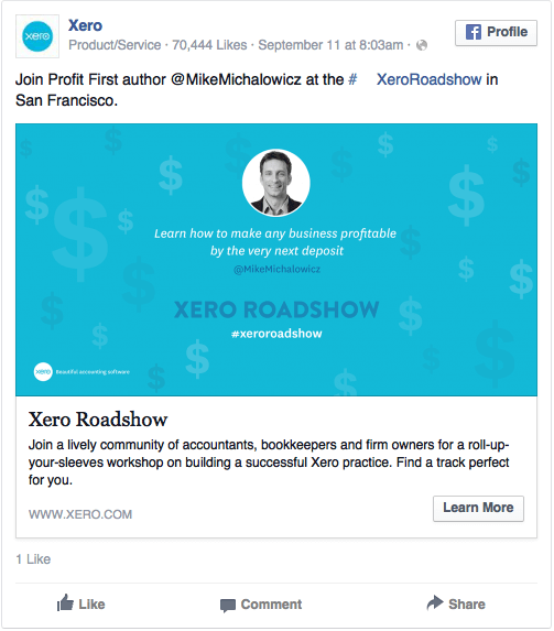 Реклама в соцсетях – синий цвет, пример Xero