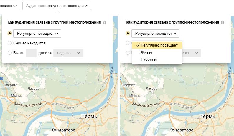 Яндекс Аудитории – выбор частоты посещений