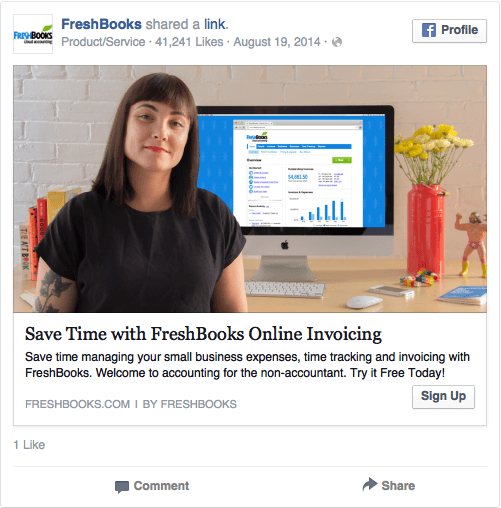 Реклама в соцсетях – синий цвет, пример FreshBooks