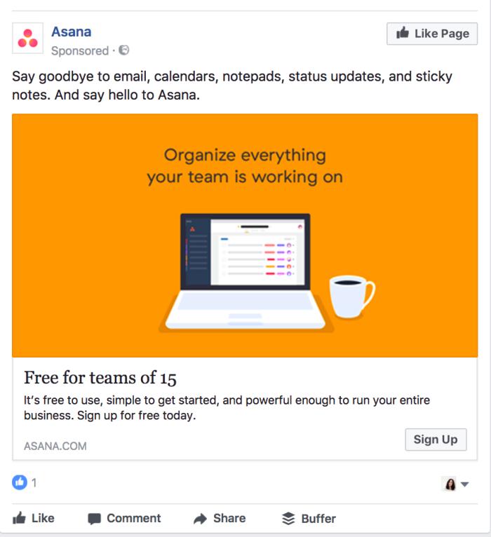 Ретаргетинг в Facebook – пример Asana, объявление