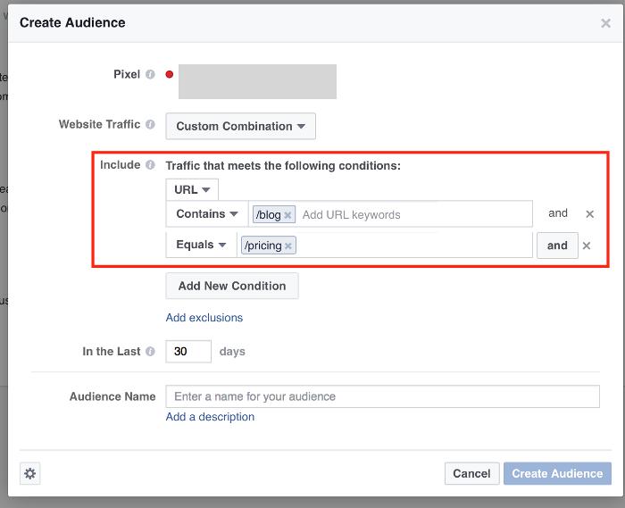 Ретаргетинг в Facebook – данные о трафике в настройках
