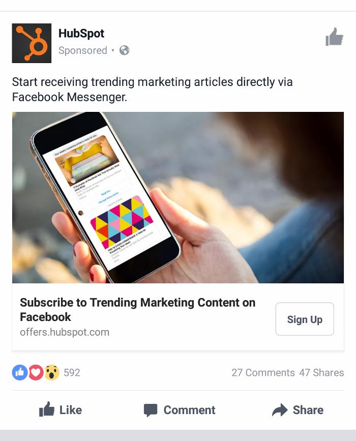 Ретаргетинг в Facebook – пример Hubspot