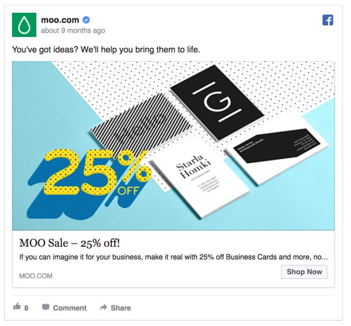 Ретаргетинг в Facebook – пример Moo