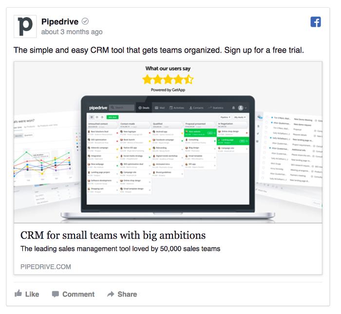 Ретаргетинг в Facebook – пример Pipedrive