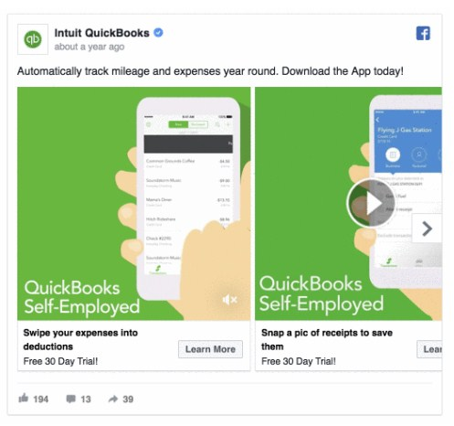 Ретаргетинг в Facebook – пример QuickBooks, реклама приложения