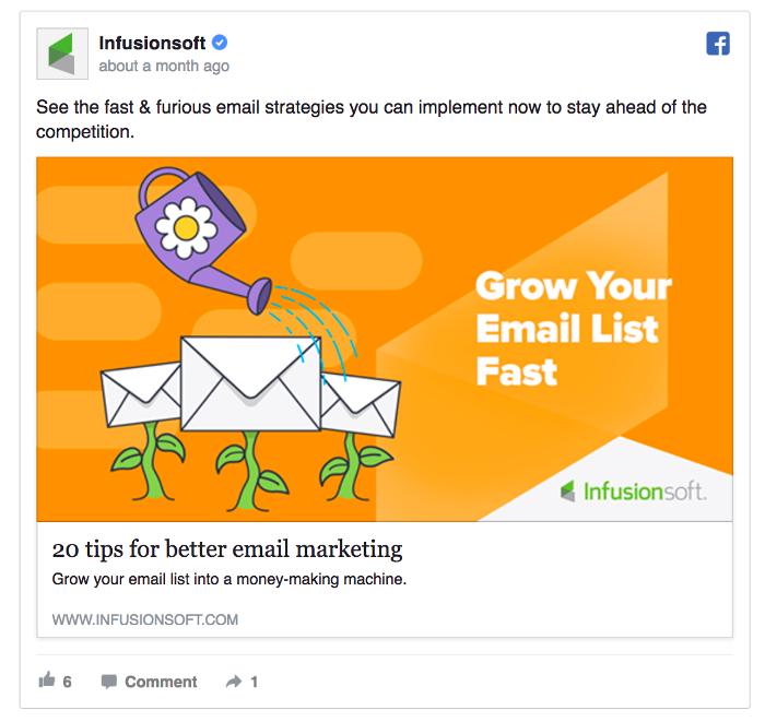 Ретаргетинг в Facebook – пример Infusionsoft