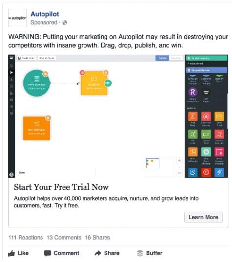 Ретаргетинг в Facebook – пример Autopilot