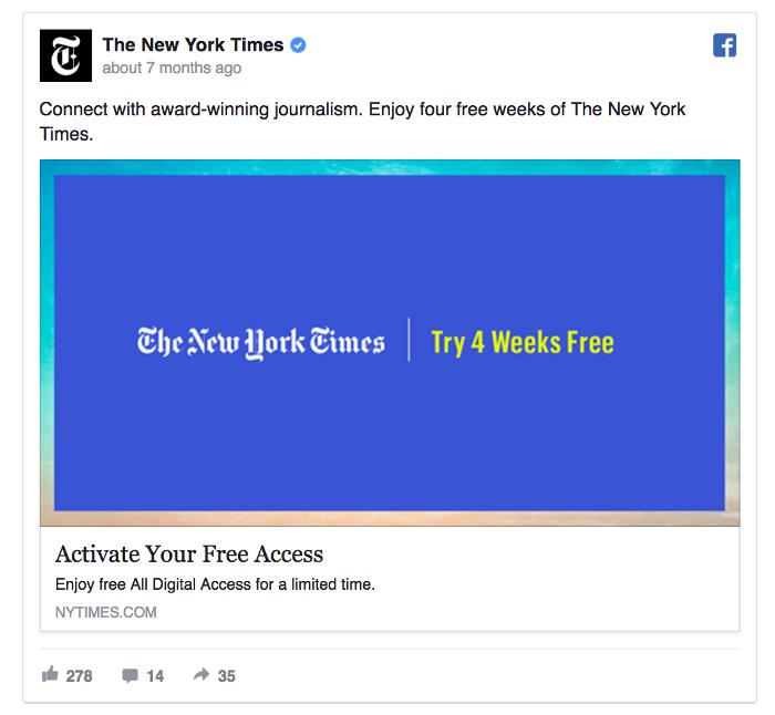 Ретаргетинг в Facebook – пример The New York Times, предложение месячной подписки