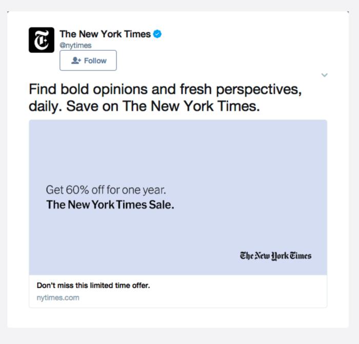 Ретаргетинг в Facebook – пример The New York Times, предложение скидки на годовую подписку