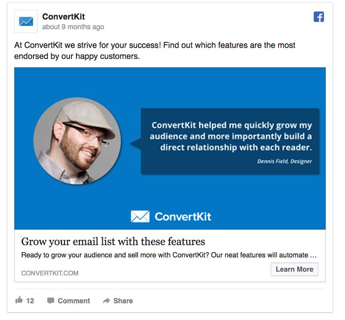 Ретаргетинг в Facebook – пример ConvertKit