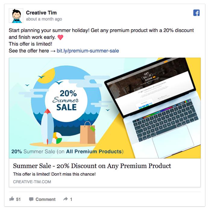 Ретаргетинг в Facebook – пример Creative Tim