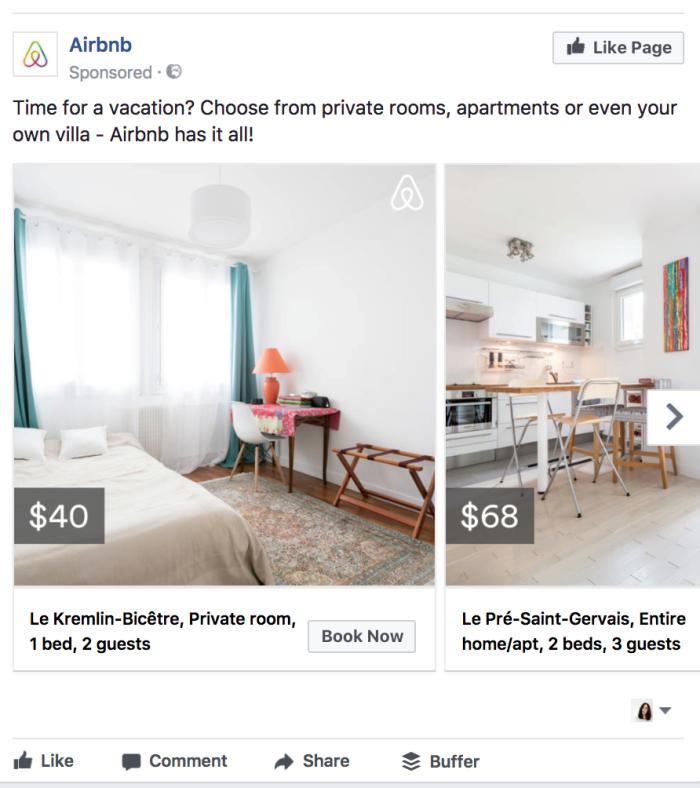 Ретаргетинг в Facebook – пример Airbnb