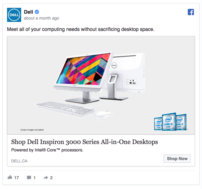 Ретаргетинг в Facebook – пример Dell
