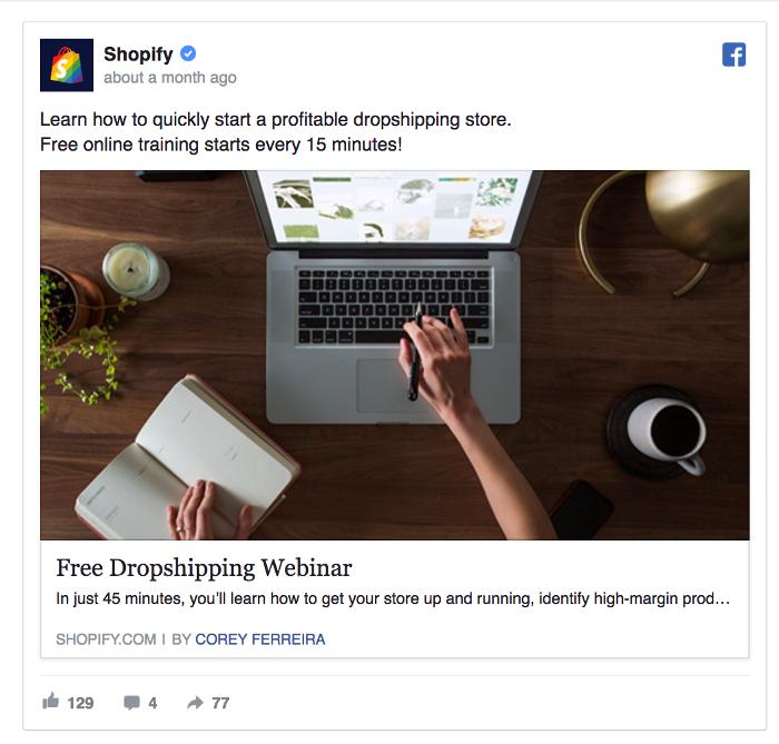 Ретаргетинг в Facebook – пример Shopify