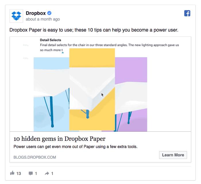 Ретаргетинг в Facebook – пример Dropbox