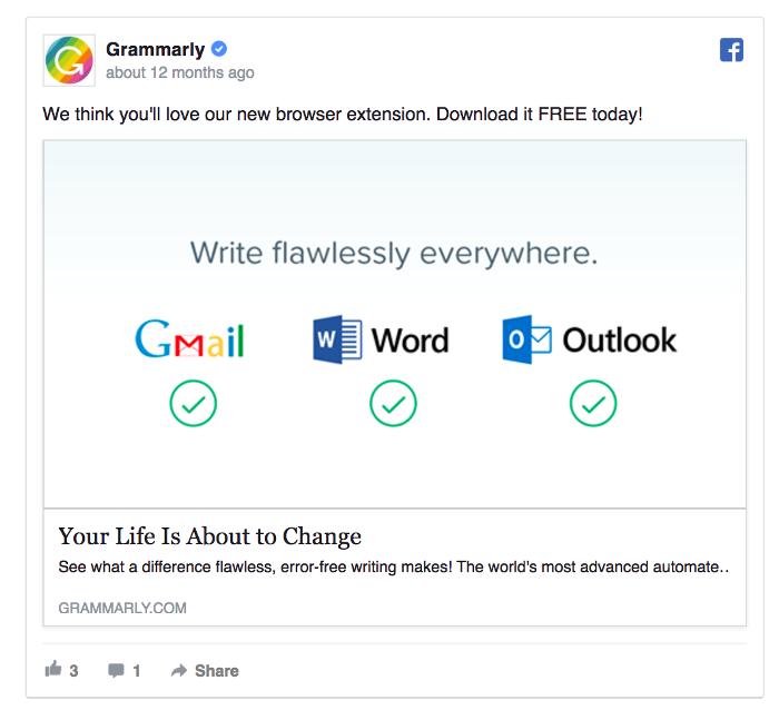 Ретаргетинг в Facebook – пример Grammarly
