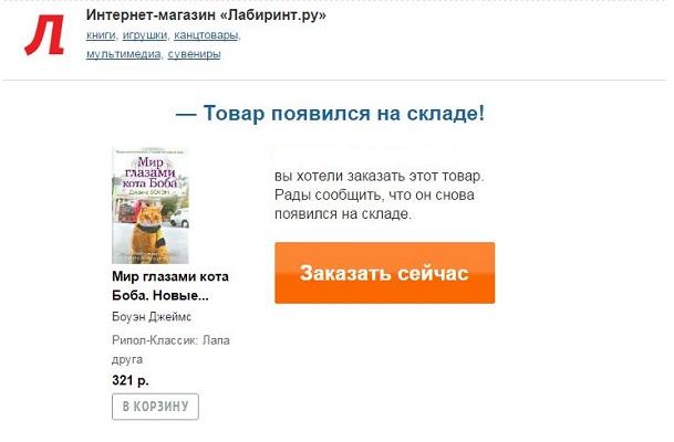 Информация о новых поступлениях в рассылке интернет магазина
