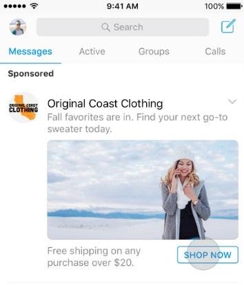 Реклама в мессенджере Facebook – пример рекламы на главной странице